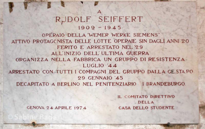 Gedenktafel für Rudolf Seiffert - Casa dello Studente, Genova - Foto: © Sabine Bade