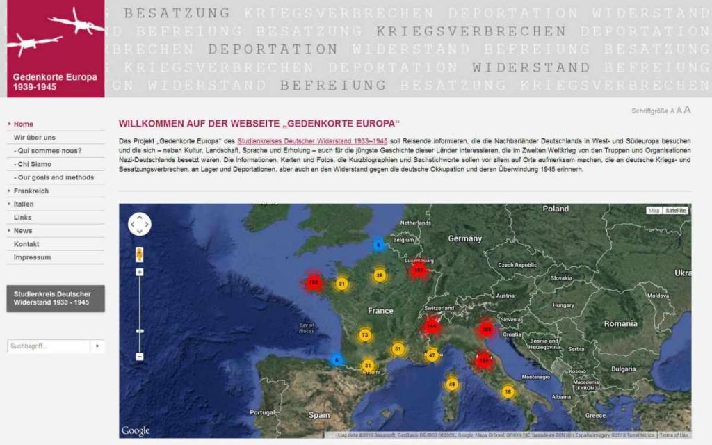 Gedenkorte Europa 1933 – 1945, ein Projekt des Studienkreis Deutscher Widerstand 1933-1945