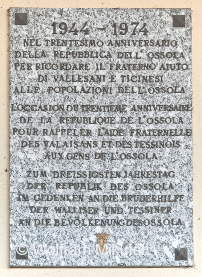 Gedenktafel, Bahnhof Domodossola