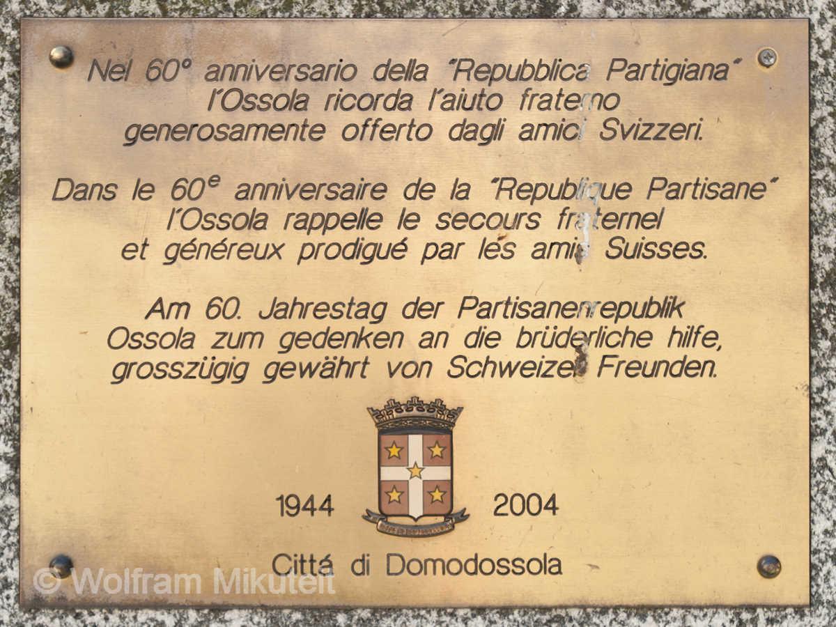 Gedenktafel, Domodossola