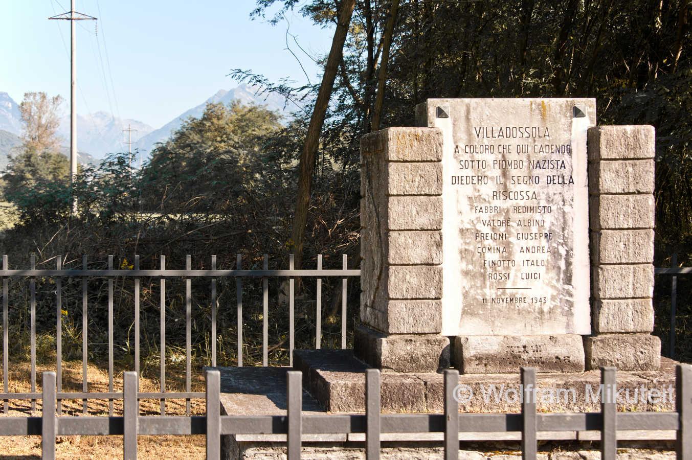 Gedenktafel für die Opfer des Aufstands von Villadossola