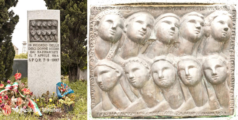 Brotaufstände in Rom - Gedenkstele für die 10 am 7. April 1944 ermordeten Frauen - Foto: © Wolfram Mikuteit
