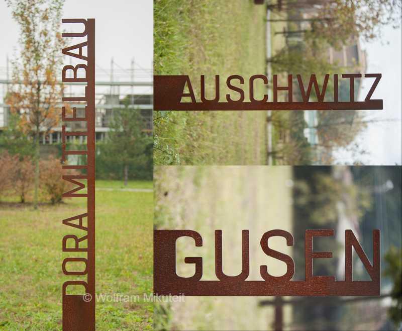 Parco della Memoria in Monza. Vertikale Erinnerungsstelen für die Zielorte der Deportationen. - Foto: © Wolfram Mikuteit